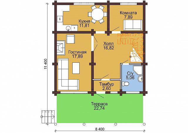 Проект бревенчатого дома 11,4x8,4м
