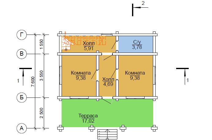 проект схема дома из сруба Вожега