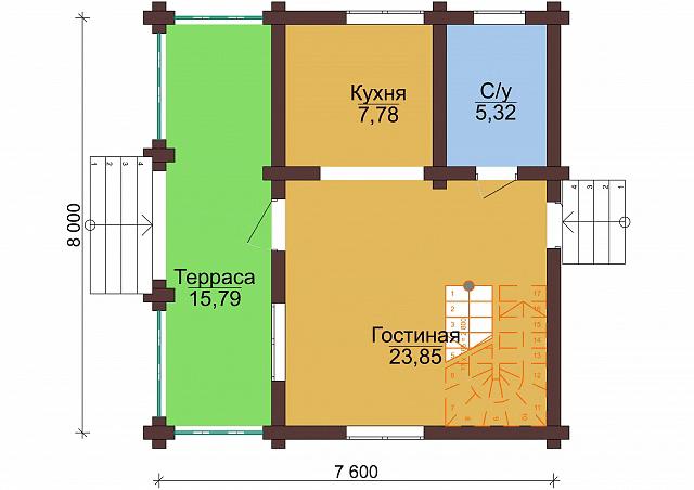 "Проект бревенчатого дома ""Весна"" 8x7,6м"