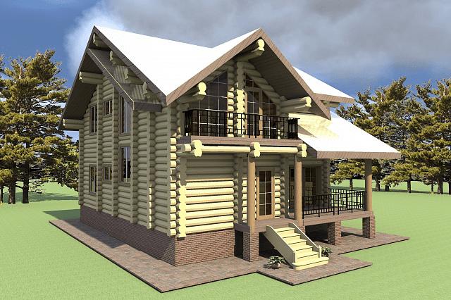 Проект бревенчатого дома Ротшильд 9,5x11 м
