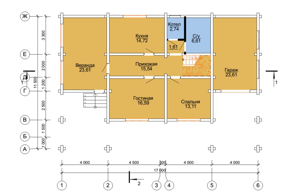 Проект бревенчатого дома семейный 11,5x17м