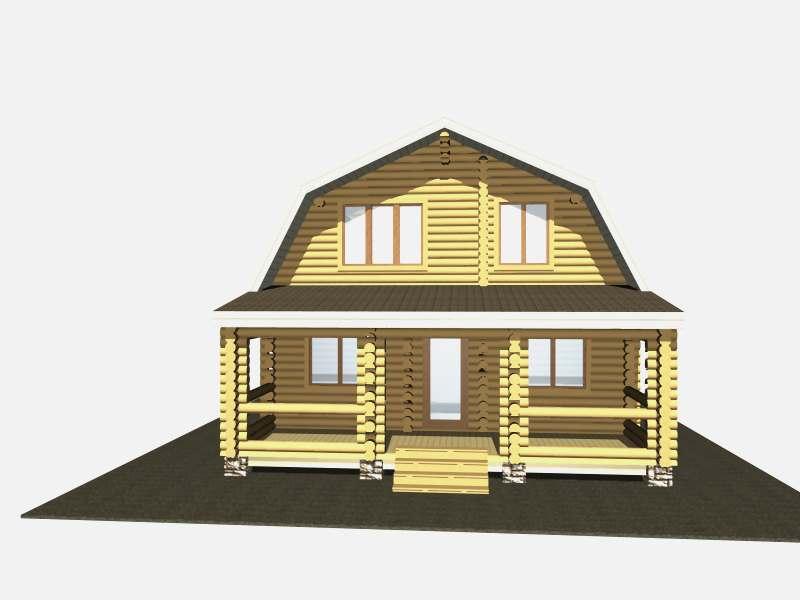 проект бревенчатого дома Родной 7,6x6,8 м схема сруба Вожега