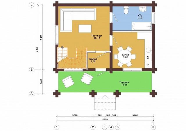 Проект бревенчатого дома Надежность 7,4x8 м