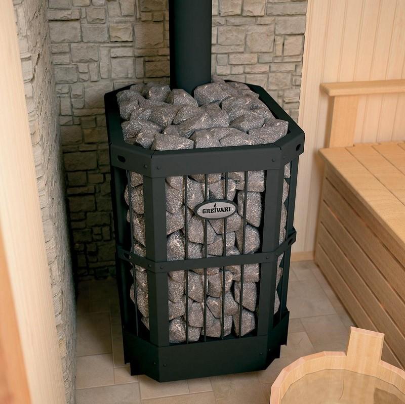 печь для бани из бревна