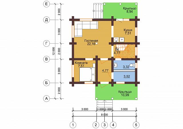 """Проект бревенчатого дома """"Благодать"""" 8x12м"""