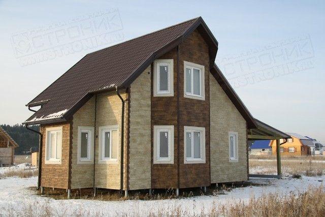 дом с устройством гаража в низу, от компании ТвойДомСтройСервис
