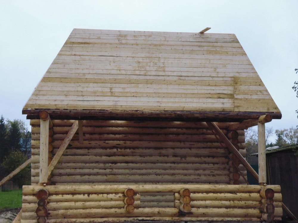 дом из бревна 7*7 метра строительство мансарды