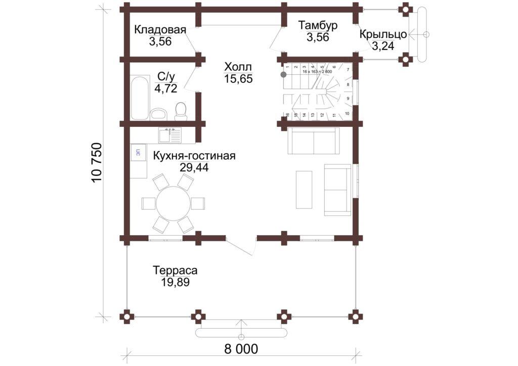 Проект бревенчатого дома  8x10,7м
