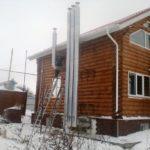 бревенчатый дом с дизельным котлом
