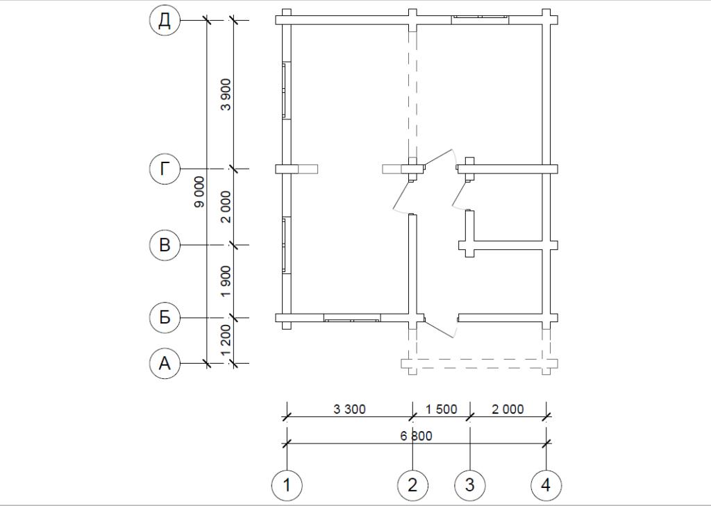 проект схема бревенчатого сруба полтора этажа 9*6.8 метра в осях в Вожеге