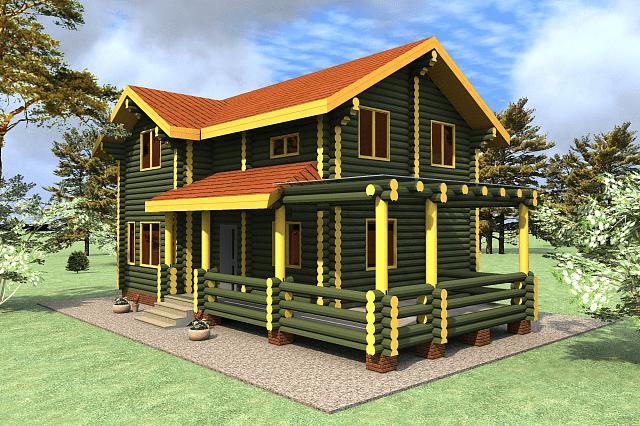 Проект бревенчатого дома Викинг 7,5x12,5м