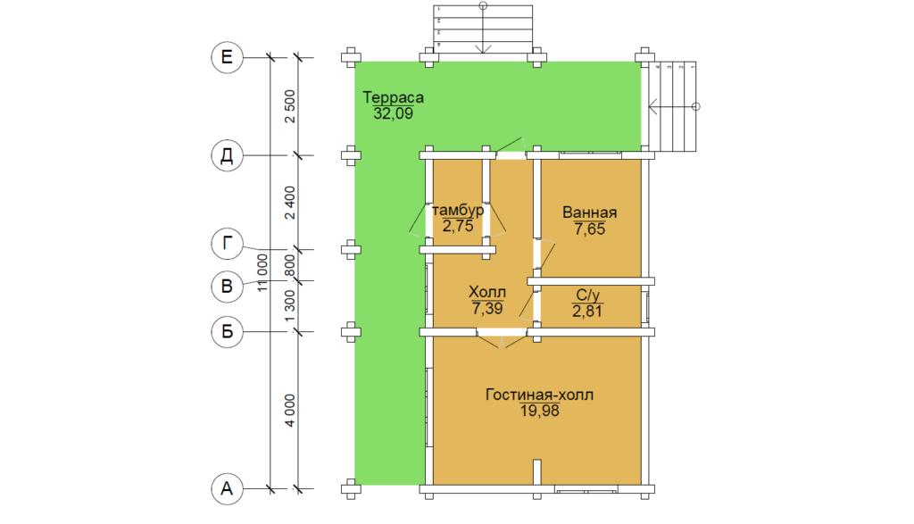 проект бревенчатого дома 4.9*8.5 метра в чашу