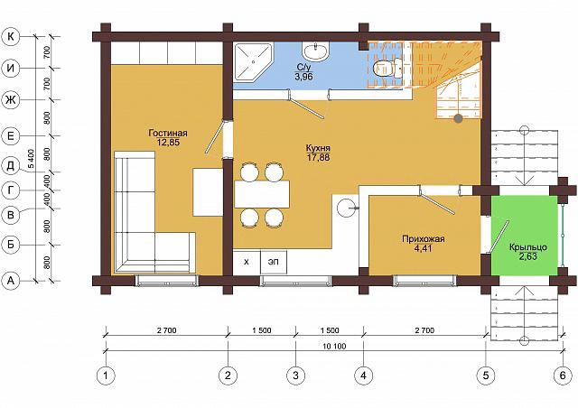 "Проект дома ""У реки"" 5,4x10,1м"