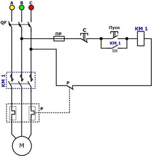 Схема подключения магнитного пускателя и теплового реле