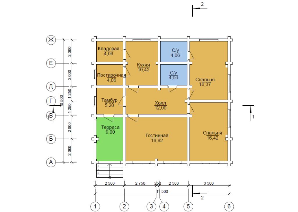 Проект бревенчатого дома  10,5x11,5м