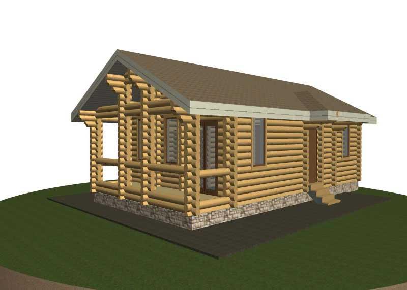 Проект бревенчатого дома Лений 6*8 м