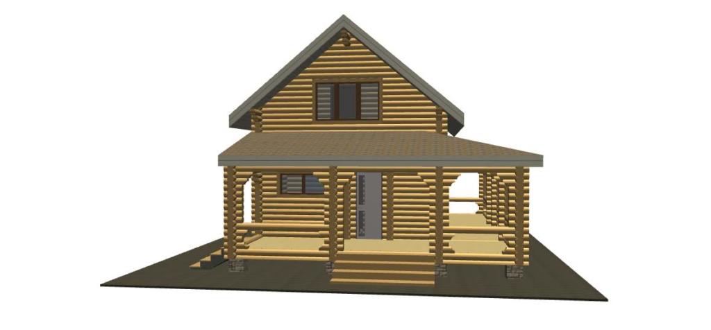 схема проект бревенчатого дома 4.9*8.5 метра в чашу