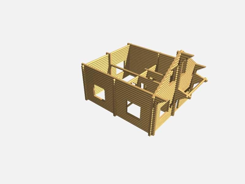 проект схема рубленного дома 6.8*9 метра в осях