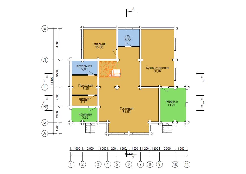 схема проекта дома 13.4*11 метра Вожега