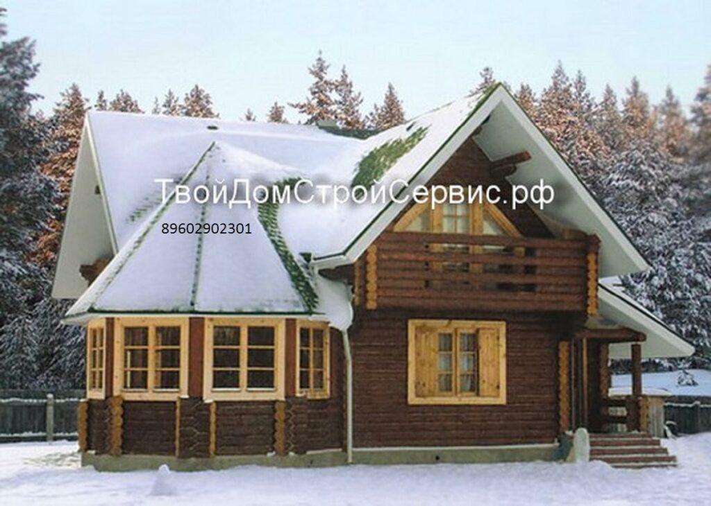 Брусовой дом в чашу с балконом Москва