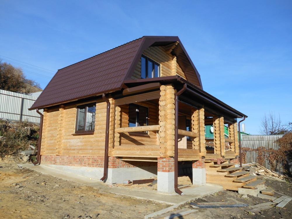 проект бревенчатого дома Родной 7,6x6,8 м Вожега