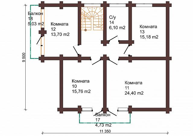 Проект бревенчатого дома 9,5x 11 м
