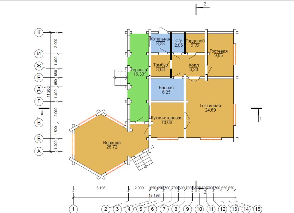 схема проект дома рубленного их дерева 11.5*12 метров Вожега